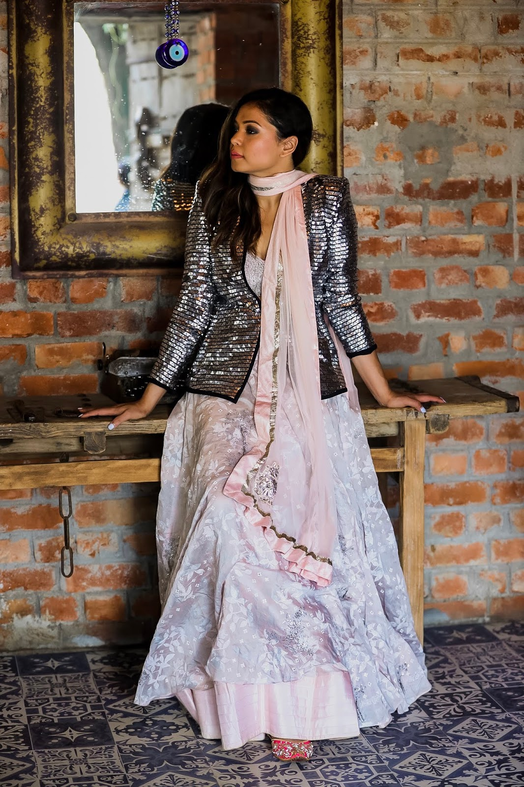 fusion outfit, indian fashion blogger, indian wedding outfit, sequin blazer, lehnga pastel, party outfit, myriad musings, saumya shiohare