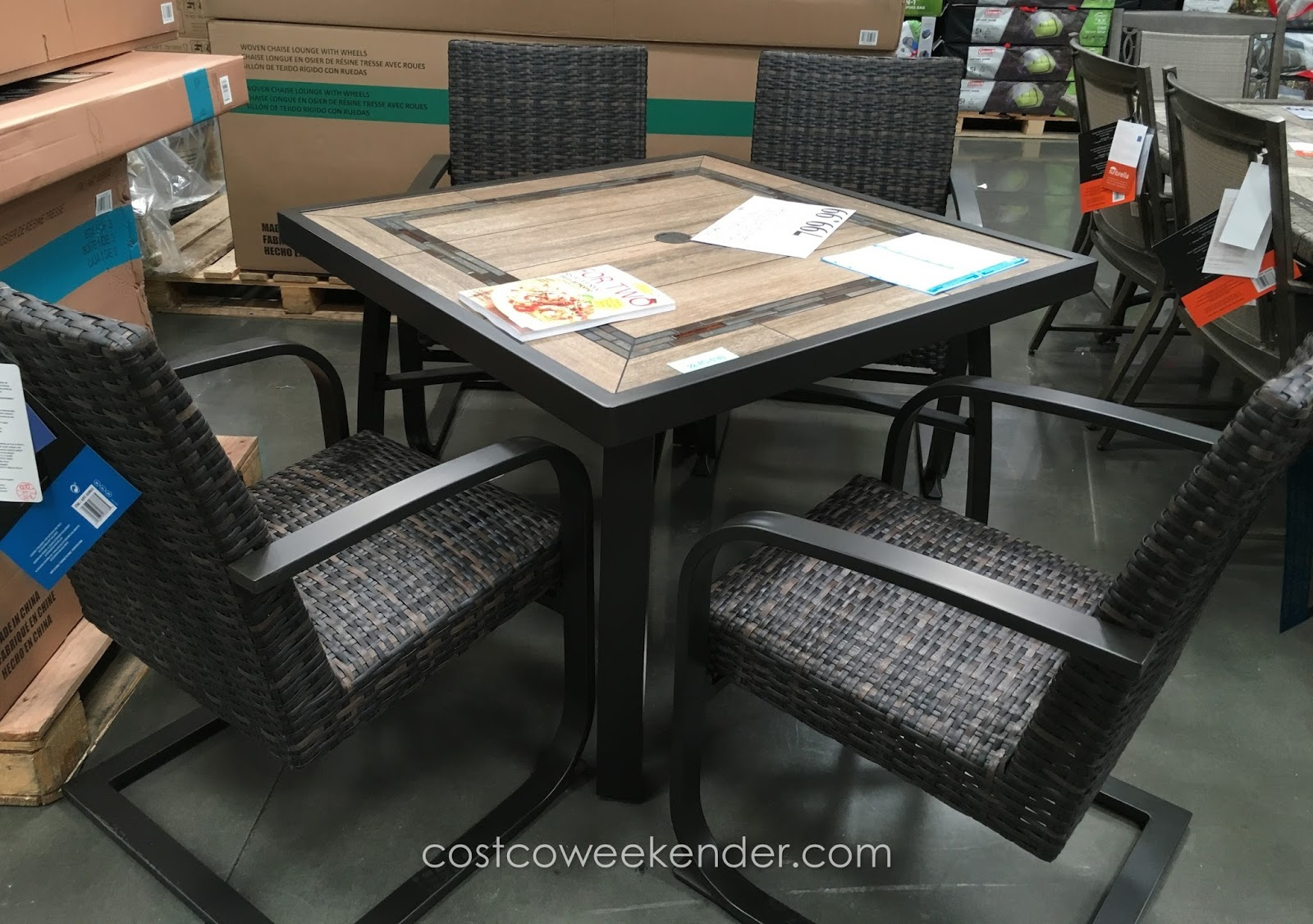 agio international 5 piece woven dining set costco weekender. Black Bedroom Furniture Sets. Home Design Ideas