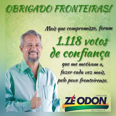 COM A VOTAÇÃO HISTÓRICA DE 1.118 ELEITORES, ZÉ ODON GARANTE MANDATO PARTICIPATIVO EM FRONTEIRAS-PI
