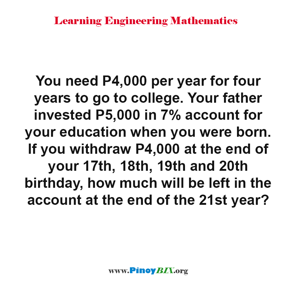 How much will be left in the account at the end of the 21st year?