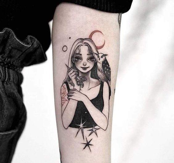 Anime Girl Tattoo sleeve