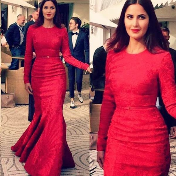 KATRINA KAIF IN RED GOWN AND SHOES BY ELIE SAAB ON DAY 2 ...