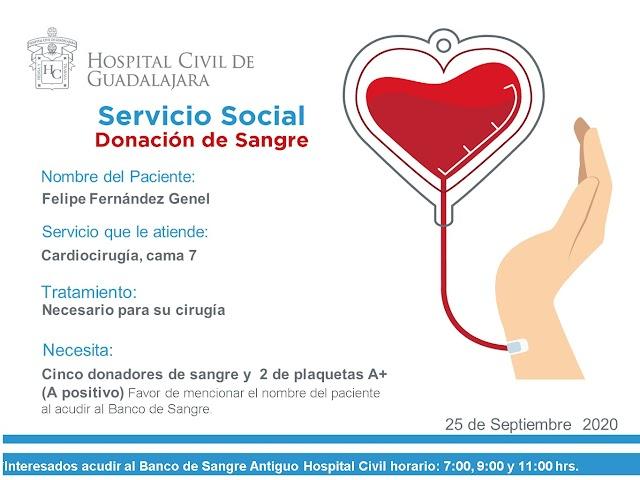 """Servicio Social de Sangre """"Urgente"""" I Paciente Felipe Fernández Genel"""