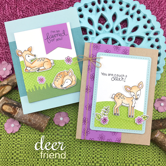 Fawn cards by Jennifer Jackson | Deer Friend Stamp Set by Newton's Nook Designs #newtonsnook #handmade