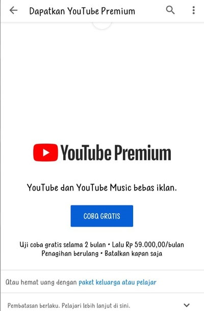 Daftar Youtube Premium Gratis