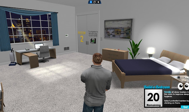 A virtual man stands in a virtual bedroom. The walls are white and a bed is in the corner of the room opposite a desk with a laptop facing a window.