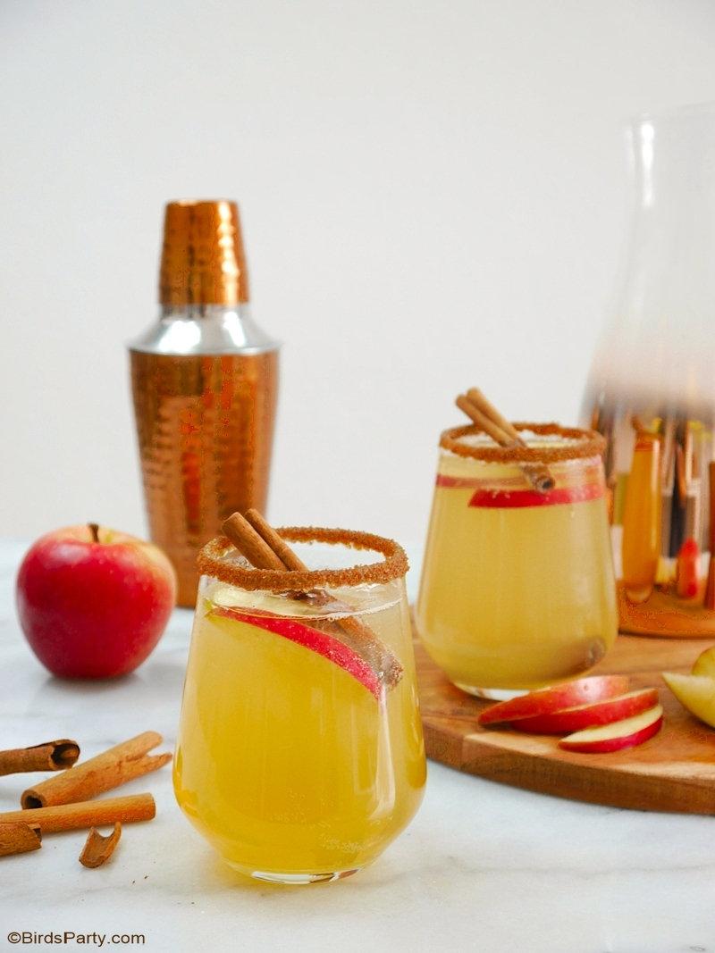 Recette Cocktail Punch Pomme et Cannelle - une recette facile pour un apéro d'automne, à faire en shaker ou un gros lot lors de vos soirées! by BirdsParty.com @birdsparty #recette #pommes #cannelle #pommescannelle #apero #recetteapero #aperoautomne #recettecocktail #recetteboissons