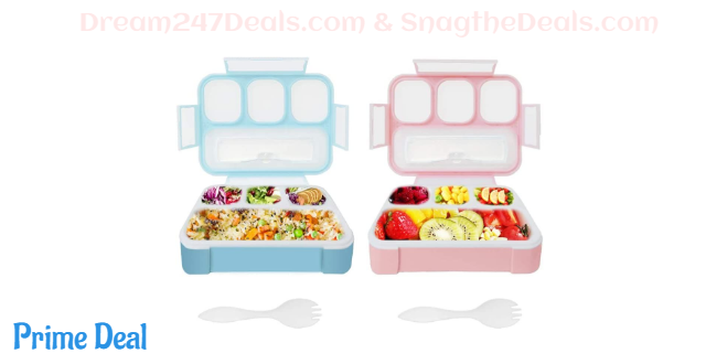 50% off Bento Boxes for Kids,Qinner Lunch Box for Children with Spork |Food Safe Durable Food Container for On-the-Go Meal Travel School & Kids Eating