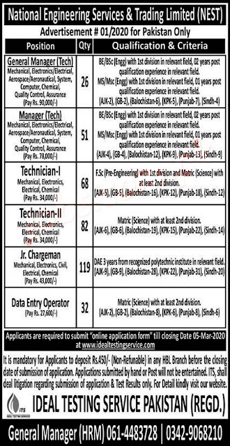 National Engineering Service & Trading Jobs from all Pakistan Male and Female
