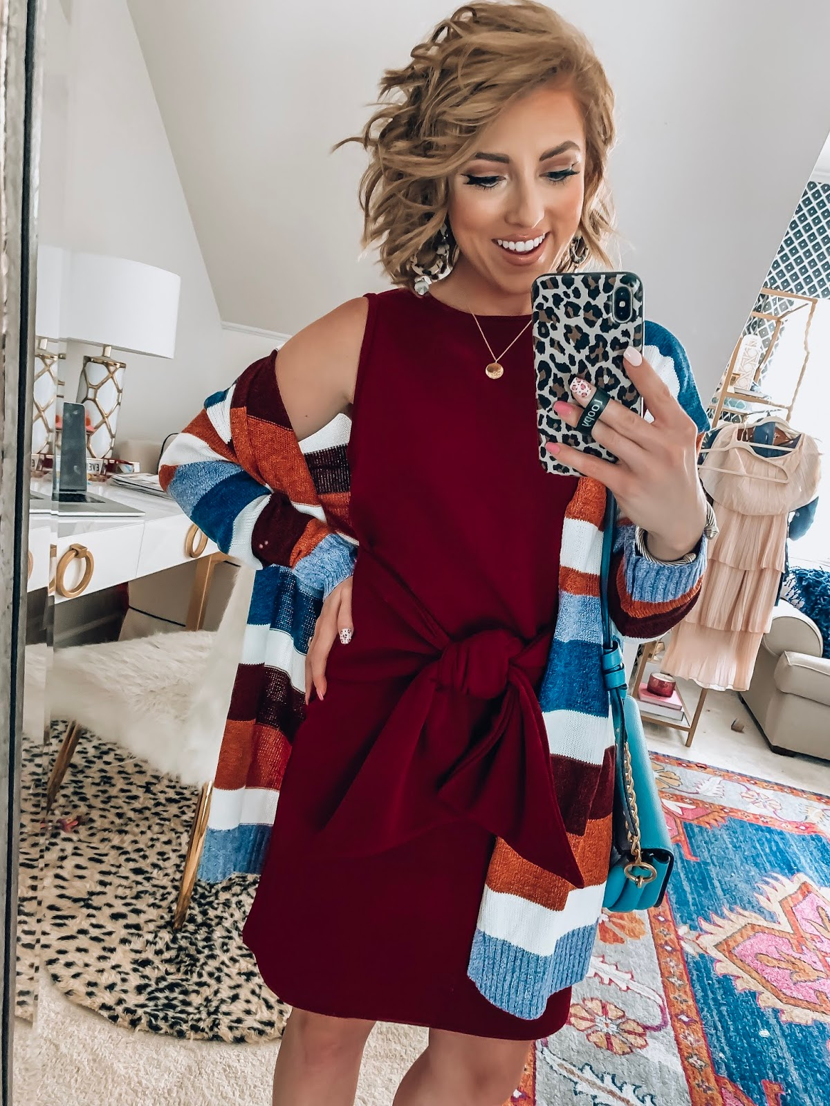 $17 Tie Front Dress + $28 Stripe Cardigan - The Perfect look for transitioning into fall - Recent Amazon Finds - Something Delightful Blog