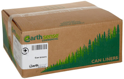 carboard box full of trash bags from webster earthsense