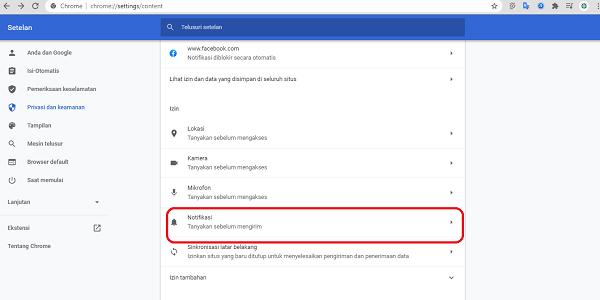 cara menghapus notifikasi di browser
