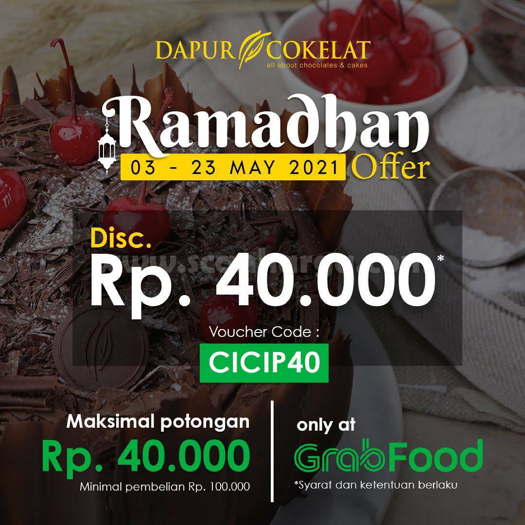 Promo Dapur Cokelat Diskon Rp. 40.000 via Grabfood