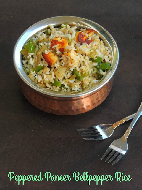 Peppered paneer bellpepper rice