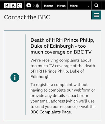 BBC too many complaints about coverage of Prince Philip