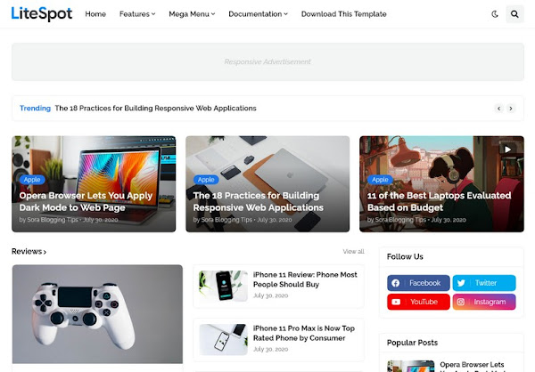 Litespot Responsive Blogger Premium Template Free Download