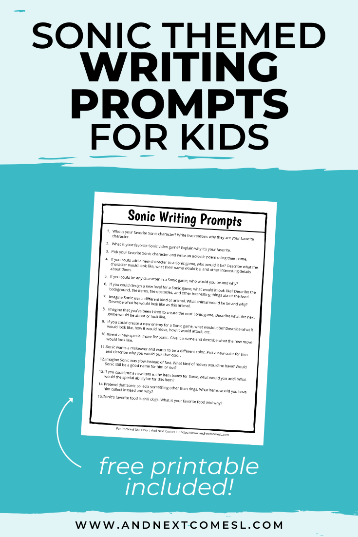 Sonic the Hedgehog themed writing prompts for kids - includes a free printable!