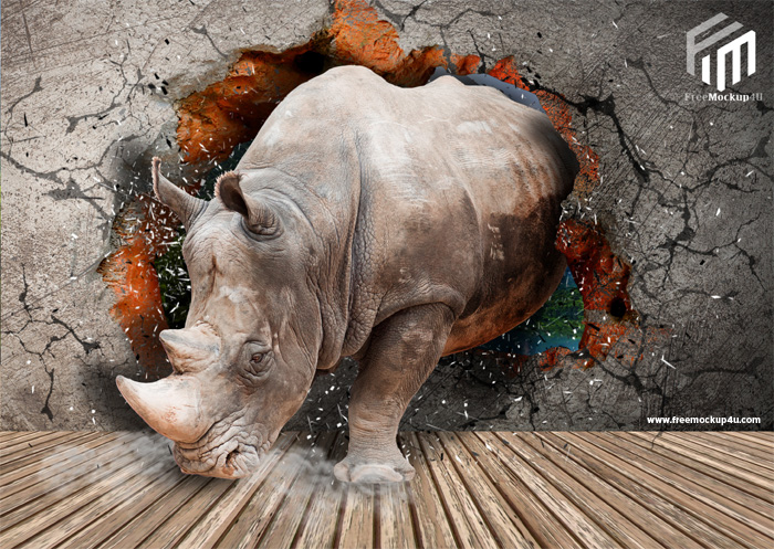 Rhinoceros Coming Out of the Premium PSD