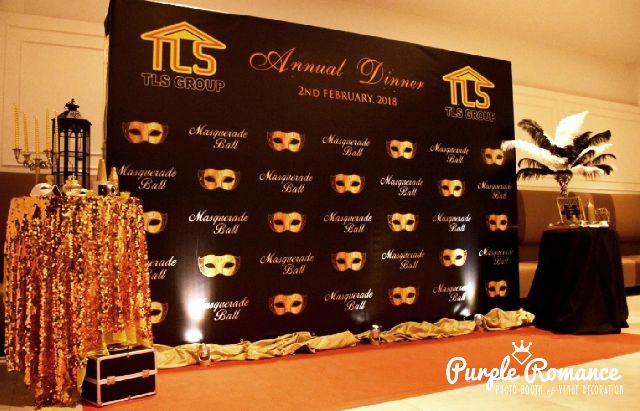 masquerade backdrop, kuala lumpur, selangor, mask, gold black, tls group, annual dinner, corporate event, instant print, photo booth, elegant, red carpet, planner