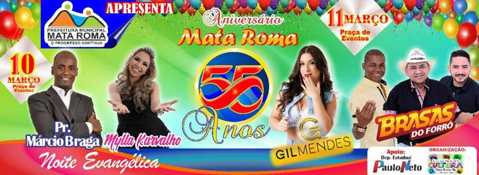 Prefeitura de Mata Roma divulga programação do aniversário da cidade, dias 10 e 11 de março
