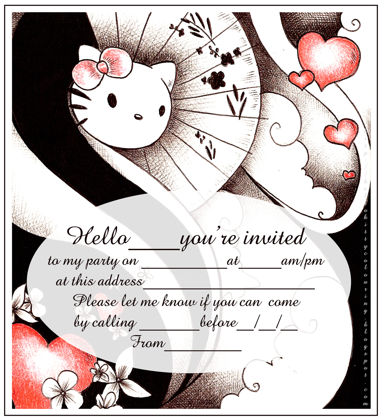 hello kitty coloring pages this is a very classy black white and red hello kitty party invitation it is easy to print and would suit as an invitation to a teenage birthday