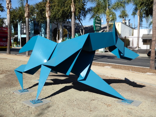 Chase Hacer coyote sculpture Santa Monica Boulevard
