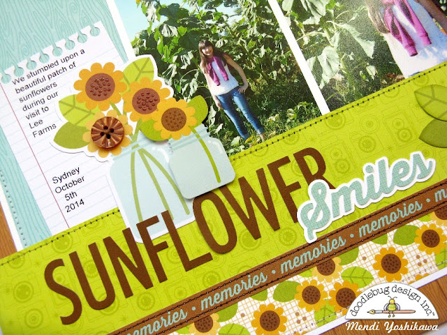 Doodlebug Design Flea Market Fall Sunflower Scrapbook Layout by Mendi Yoshikawa