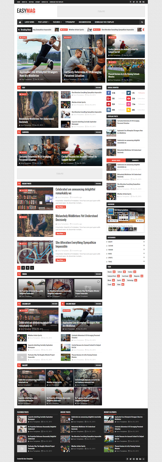 Easy Mag Blogger Template Home Page