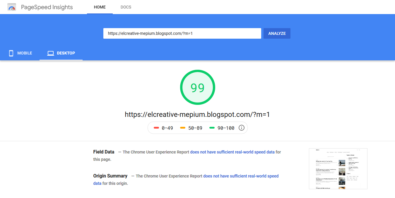 Google PageSpeed Insight Desktop
