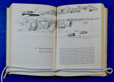 Opening illustration to Chapter 10 of Rachel Carson's Silent Spring, depicting an airplane spraying DDT over a suburb.