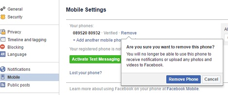 remove your mobile number
