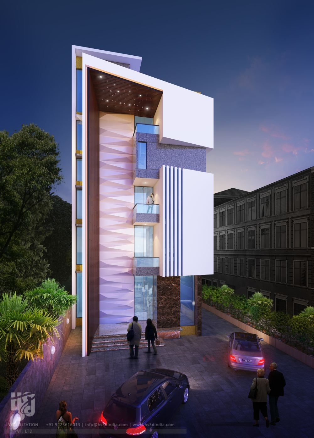 3d architectural visualization 3d exterior night rendering for Design hotel 3d