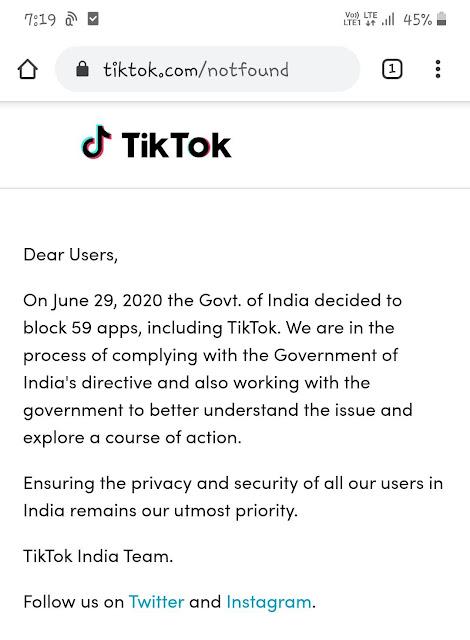 TikTok website notfound page