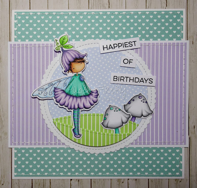 Birthday card using Tiny Townie Fairy Garden Fairy by Stamping Bella