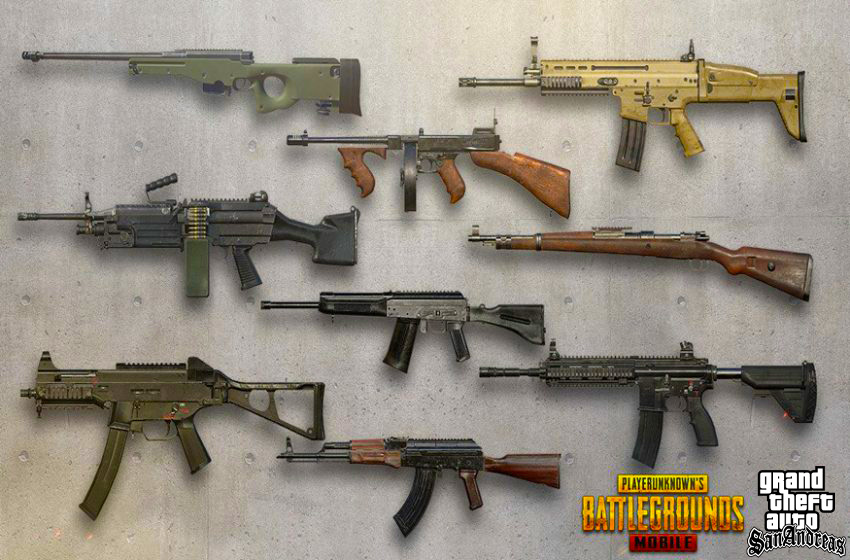 PUBG All Weapons Mod Pack For GTA San Andreas
