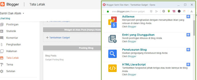 Tata Letak - Add Widget HTML/ JavaScript