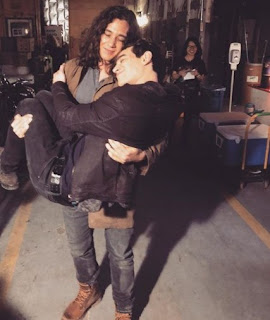 Picture of Chai Hansen carrying his co-star