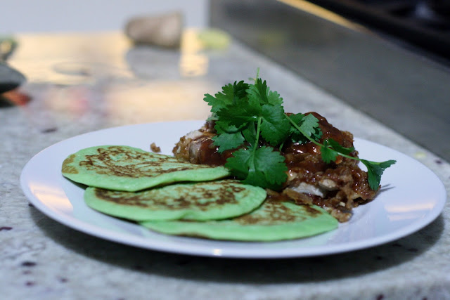 fried chicken and pandan pancakes sorted food