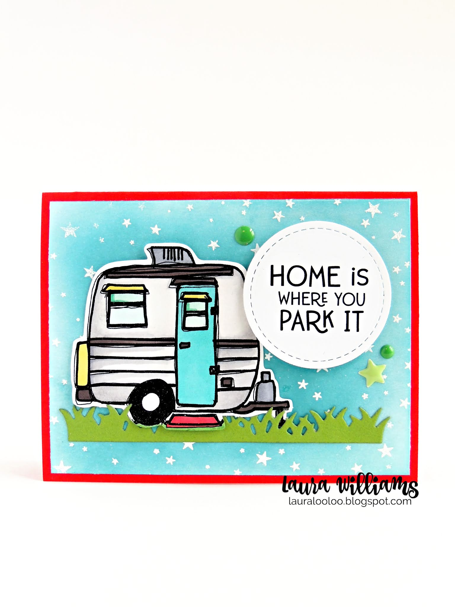 Home Is Where You Park It! You'll love the cute sentiment and adorable trailer (or camper) stamp from Impression Obsession for handmade cards and crafts. This image is fun to color and paper-piece for cardmaking and paper crafted projects. Check out more ideas on my blog for this sweet rubber stamp.