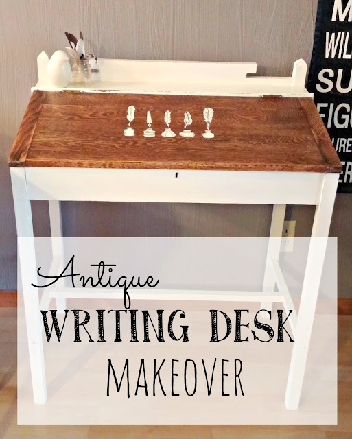 Antique writing desk makeover
