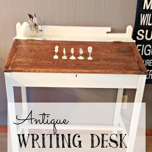 Before and After - Antique Writing Desk Makeover