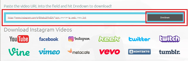 Pastekan link video yang akan diunduh kemudian klik Dredown.