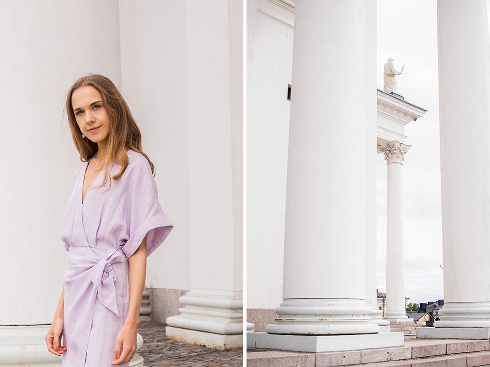 Graduation outfit: lilac mini wrap dress from &Other Stories - Valmistujaisasu: vaaleanvioletti minikietaisumekko