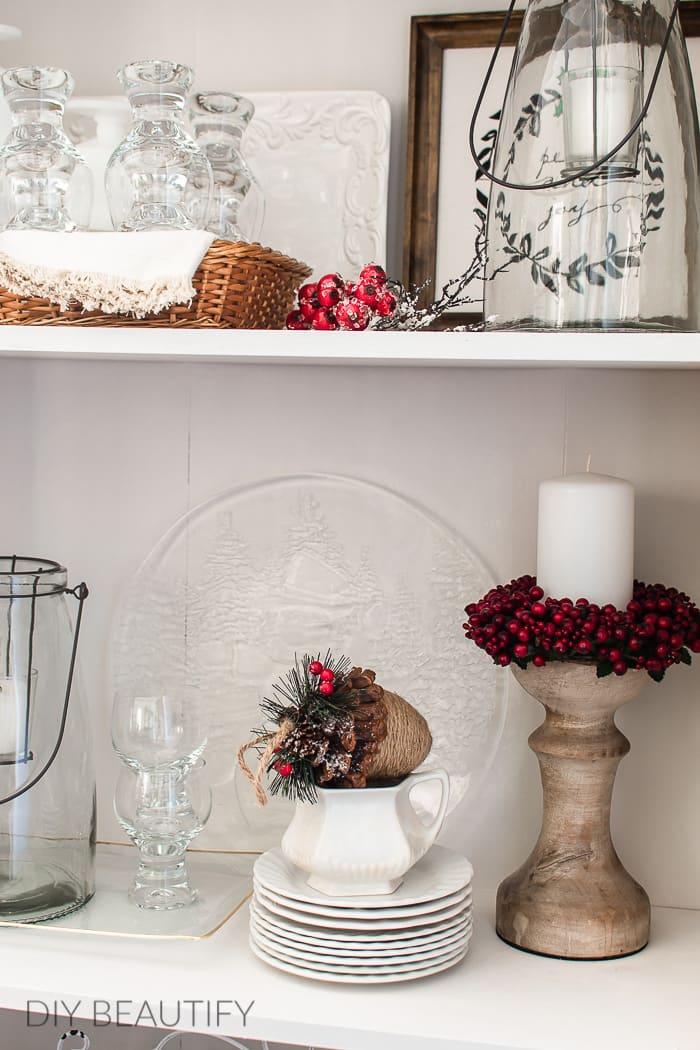 white bookshelf Christmas vignette