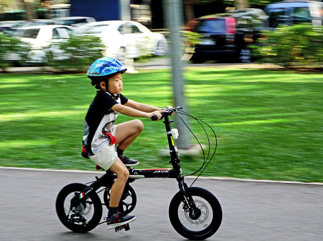 Little boy wearing a helmet riding a bicycle.