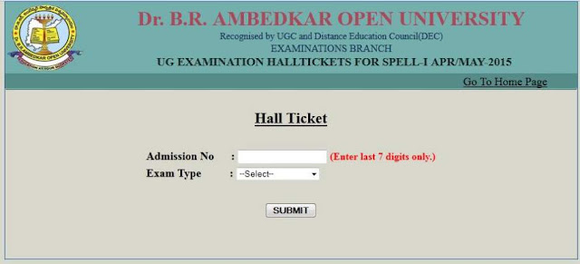 DR BR Ambedkar Open University Hall Ticket 2016 Download BA B.com B.sc|DR br ambedkar open university hall ticket 2016 download| Degree Examination hall ticket 2016 | DR BR Open University Degree Examination Hall ticket (Admit card) 2016. /2016/06/DR-BR-Ambedkar-Open-University-Hall-Ticket-2016-Download-BA-Bcom-Bsc.html