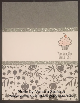 Black & White, basic, Fundamentals, button, Shimmer Brush, shimmer trim, sweet, cupcake, flowers, cake, Stamp of the Month, stamping, pun, cardmaking, friends, #CTMHBasicFundamentals, S1712, #CTMHCalendar, Vandra