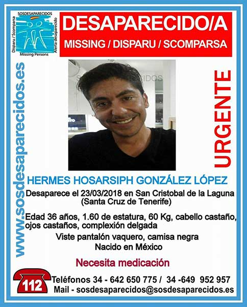 Desaparecido en san Cristóbal de La Laguna, Tenerife