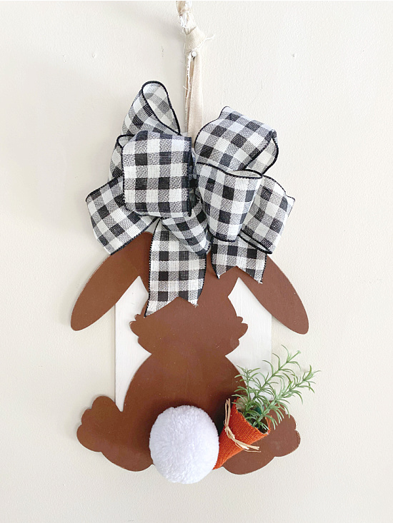 bunny with bow and fabric hanger