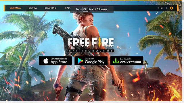 Tampilan situs resmi game Free Fire Battlegrounds